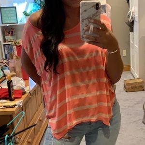 Coral & cream striped shirt
